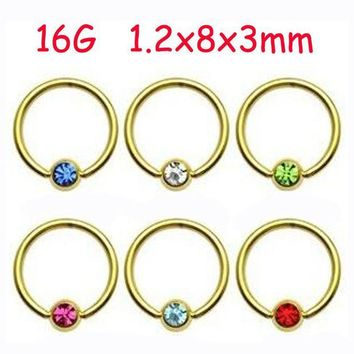 ac DCCKO2Q 2Piece Stainless Steel Gold Captive Hoop CBR Eyebrow BCR Tragus Earrings Nose Closure Ring Body Piercings Jewelry Helix