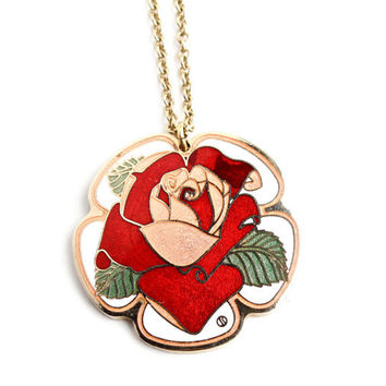 Vintage Enamel Rose Flower Necklace -  Gold Tone Statement Signed Cloisart 1970s Costume Jewelry / Statement Reds