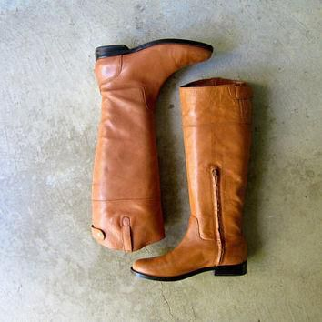 Tall Brown Leather Boots 90s Ralph Lauren Boots Vintage Equestrian Riding Boots Preppy
