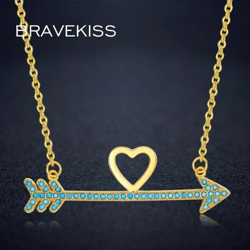 BRAVEKISS Arrow Gold Color Pendant Necklace Best Friends Love Heart Chain Feather Arrowhead Necklace Fashion Jewelry BUN0252A
