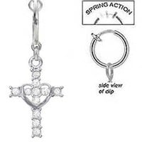 Fake Belly Navel Non Clip on Piercing Cz Clear Crystal Cross w/ Heart Dangle Ring
