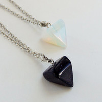 Triangle pendant necklace, triangle charm stone triangle pyramid necklace pyramid pendant stone pyramid hippie grunge boho hipster gift