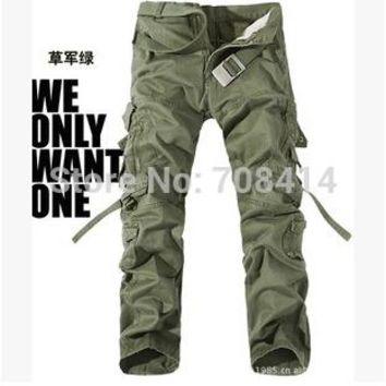 workers Men pants fashion Camouflage multi-pockets overalls pants free shipping