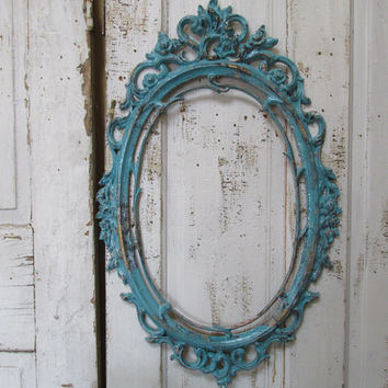 deep blue ornate picture frame large oval beach cottage shabby distressed composite home decor anita spero