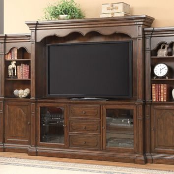 6 pc Bycrest collection cherry finish wood entertainment center wall unit with TV stand and side towers