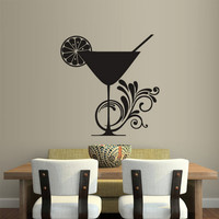 rvz1793 Wall Vinyl Sticker Kitchen Decal Coctail Lemon Cup Curly Glass