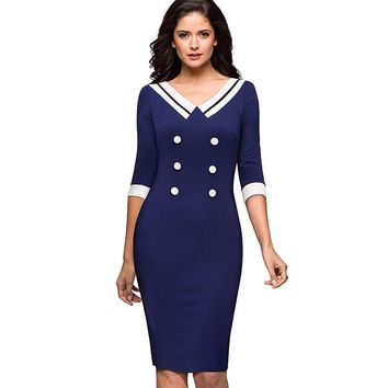 Women Elegant Contrast Vintage Striped Button Pinup Retro Rockabilly Wear to Work Bodycon Sheath Sailor Dress EB415