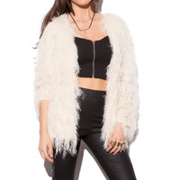 CARDIGAN IN FAUX FUR WHITE