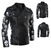New Designer Printed Biker Leather Jacket