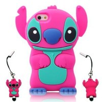 I Need's 3d Cute Movable Ear Flip Stitch & Lilo Silicone Cover Case for Iphone 5 with 3d Stitch & Lilo Stylus Pen - Hot Pink/blue hot pink/blue