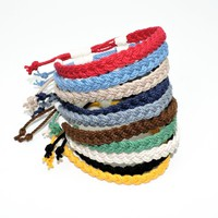 "Anklet Adjustable Woven 3/8"" Wide Nautical Colors"