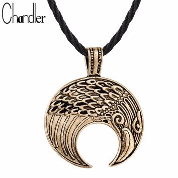 Chandler Raven Viking Lunula Amulet Pendant Necklace For Male Mens Crescent Moon Norse Slavic Fertility Pagan Collares His Gift