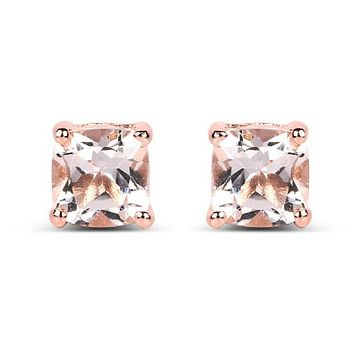 Natural Mined 14K Rose Gold 2.40TCW Cushion Cut Peach Morganite Stud Earrings