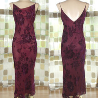 Vintage 90s Retro 30s Beaded Burnout Burgundy Velvet Bias Harlow Gown 4/ Small Sexy Dress Flapper Gatsby Illusion