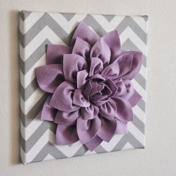 """MOTHERS DAY SALE Wall Flower -Lilac Dahlia on Gray and White Chevron 12 x12"""" Canvas Wall Art- Baby Nursery Wall Decor-"""