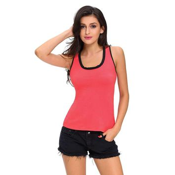 Contrast Trim Lace-up Back Rosy Tank Top