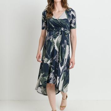 Dark Palms Maternity & Nursing Friendly Wrap Dress