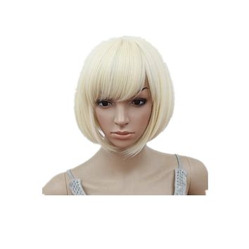 Fei-Show Bob Wig Oblique Inclined Bangs Short Wavy Blonde Hair Synthetic Heat Resistant Halloween Cos-play Women Hairpiece