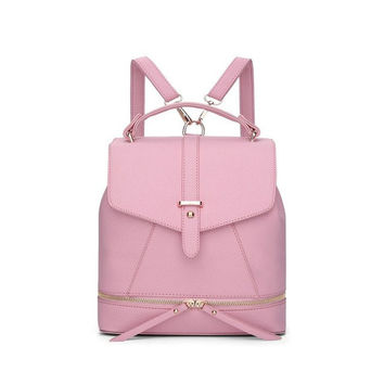 Versatile Leather Backpack - Pink