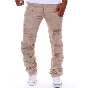 Men pants spring and summer new men's personality fashion washed hole hair pull