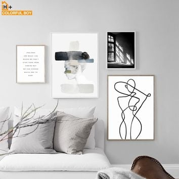 Wall Art Canvas Print Black White Abstract Girl Canvas Painting Nordic Minimalism Posters And Prints Kids Wall Pictures Bedroom