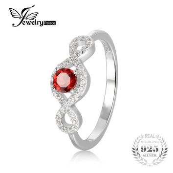 JewelryPalace New Classic 0.65 ct Round Natural Garnet Infinity Engagement Ring 925 Sterling Silver Brand Fine Jewelry For Women
