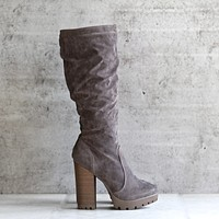 knee high faux suede almond toe platform chunky heel slouchy boot