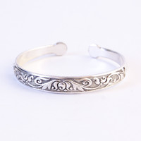 Silver Flower & Vine Bangle