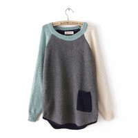 Grey Contrast Long Sleeve Pocket Loose Sweater Gray