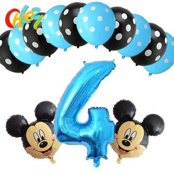 13pcs Baby Boy 4 5 6 7 8 9 year Blue Number balloons Mickey Mouse party decor birthday party supplies Dot latex balloon shower