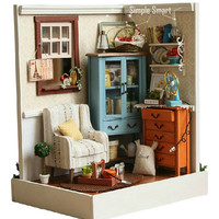 Miniature Dollhouse DIY Kit Country Living Morning Room with Light  Cute Room House Mode