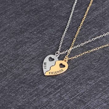 1/Sets Friendship Necklace Best Friends Forever Hollow Heart-Shaped Pendant Brother Best Buds Silver Color Necklace Charm Choker