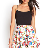 Pleated Floral Skater Skirt