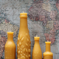 "Beeswax Candle Collection - antique bottle shaped - ""French, Lime Juice Md and Mini and Hoyt's"" - by Pollen Arts -"