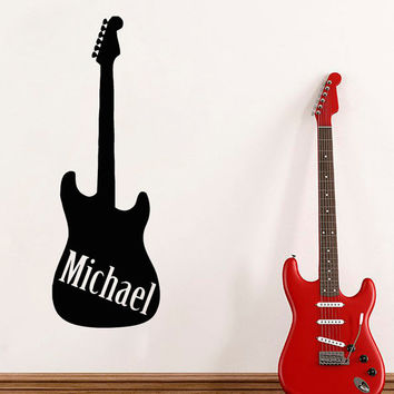 Guitar Wall Decal Boy Personalized Name Stickers Music Vinyl Decals Custom Art Mural Bedroom Decor Interior Design Nursery Room Decor KY18