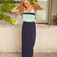 Life Is Wonderful Maxi Dress Navy/Green