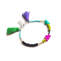 Beaded Friendship Bracelet, Green and Purple Leather Tassel Jewelry | Boo and Boo Factory - Handmade Leather Jewelry