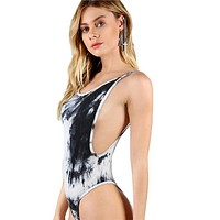 Low Back Thong Tie Die Bodysuit