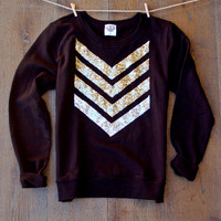 Oopsie Sale - Sequin Chevron Arrow Design Black Sweatshirt  Dazzle Me Chevron Shirt  Now in XL Liam Payne Tattoo 1D  Available in Plus Sizes
