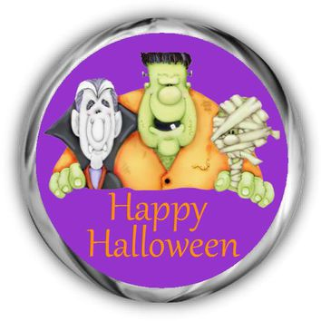 Ghouls Personalized Halloween Hershey Kisses Stickers