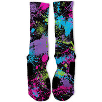 Paint Splatter Black Custom Nike Elite Socks