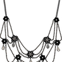 BLACKOUT CRYSTAL FLOWER WEB NECKLACE