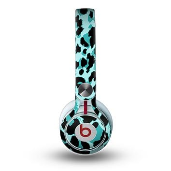 The Vector Hot Turquoise Cheetah Print Skin for the Beats by Dre Mixr Headphones