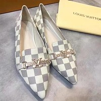LV Louis Vuitton Fashion New Monogram Check Pointed High Quality Leather Shoes Women White