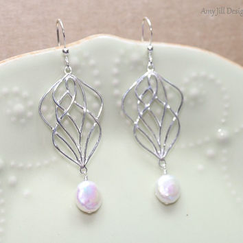 White Freshwater Pearl Earrings, Sterling Silver Wavy Woven Filigree, June Birthstone, White Wire Wrapped Hanging Coin Pearl Jewelry