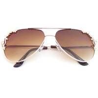 Rose Accent Classic Metal Frame Spring Hinges Aviator Sunglasses