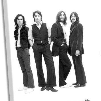 DCCKU7Q The Beatles 1969 Group Pose White Background Stretched 24x36 Canvas