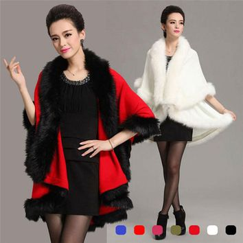 Winter Womens Leather Grass Fox Fur Collar Poncho Cape Bridal Wedding Dress Shawl Cape Lady Wool Vest Fur Coat