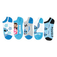 Disney Lilo & Stitch Blue No-Show Socks 5 Pair