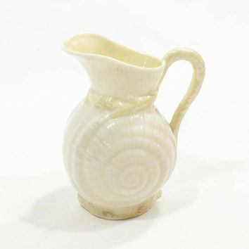 Belleek Toy Shell Creamer, Yellow Luster Fnish, Third Black Mark, 1926 -1946, Belleek China, Parian Antique Porcelain